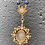Thumbnail: VSA Rosary Gold Tone Oval Sacred Heart w/ Night Blue/Cream Pearls&clear crystals