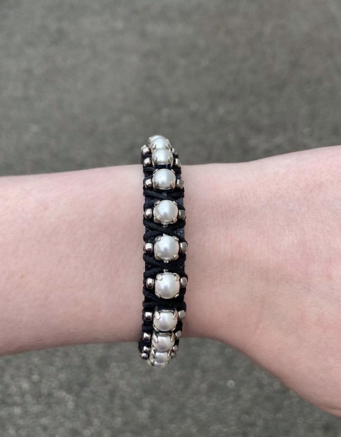 Black Leather Adjustable Bracelet with Pearls
