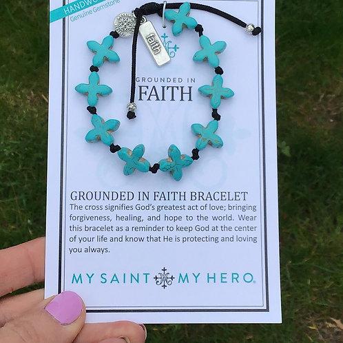 Grounded in Faith turquoise cross bracelet