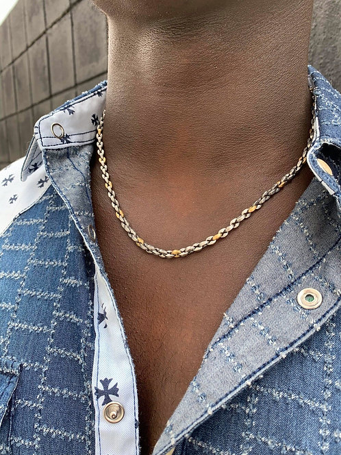 Matte Stainless Steel Two Tone Gucci Style Chain