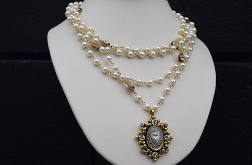 VSA Gold Tone Oval Sacred Heart Magdalena w/6mm Cream Pearls & Clear Crystals