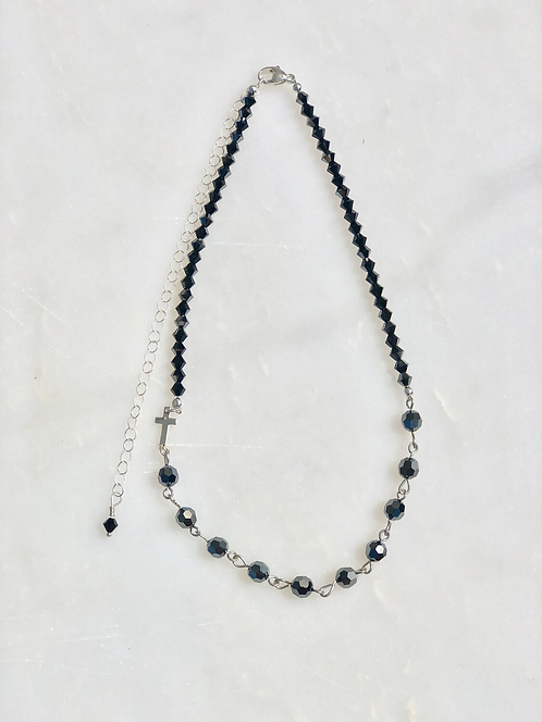 """13-18"""" Hematite & Silver Rosary Necklace"""