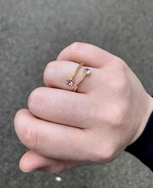 Adjustable Gold Tone Ring Wrap with Light Rose Stones
