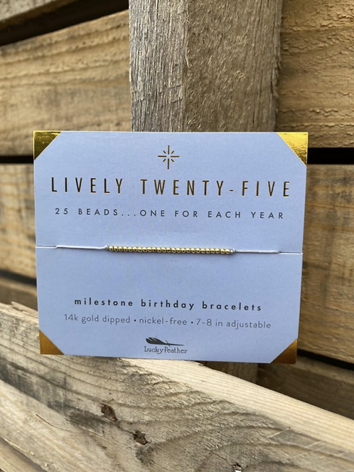 Lively Twenty-Five 14K Gold Dipped Milestone Birthday Bracelet