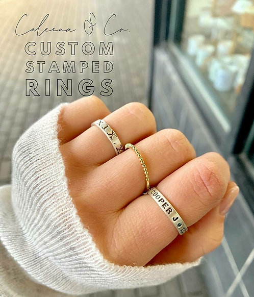 Sterling Silver Stamped Stacker Rings