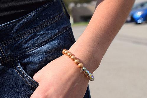 Split Light Colorado & Bright Gold Pearl Large Swarovski Crystal Bracelet