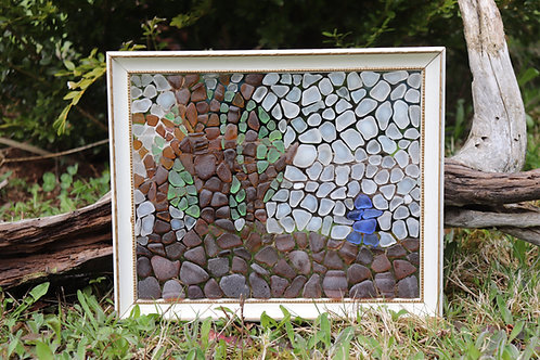 Super Moon and Trees Sea Glass Mosaic