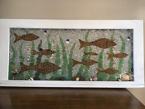 School of Fish Sea Glass Mosaic
