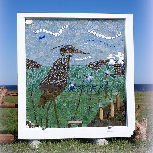 Sea Glass Mosaic - Blue Heron