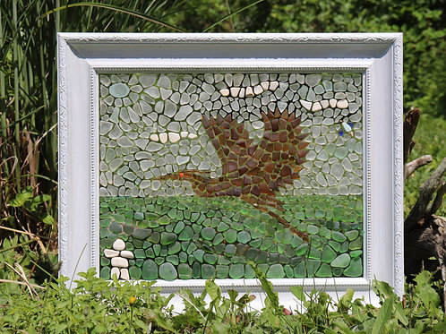 Flying Heron Sea Glass Mosaic