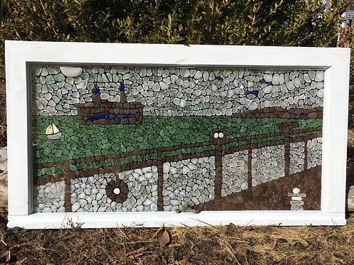 Ferry to Prince Edward Island Sea Glass Mosaic
