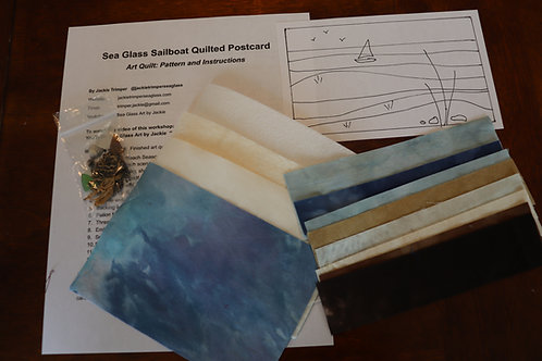 Kit - Sailboat Sea Glass Quilted Post Card
