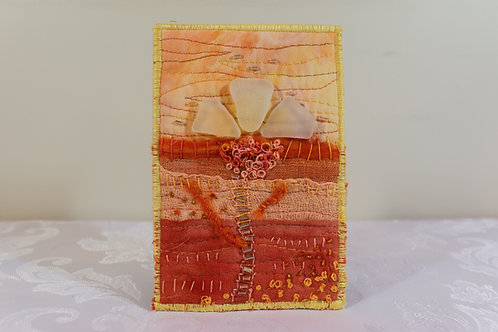 Quilted Sea Glass Flower Mini Art