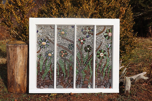 Sea Glass Mosaic Bed of Flowers