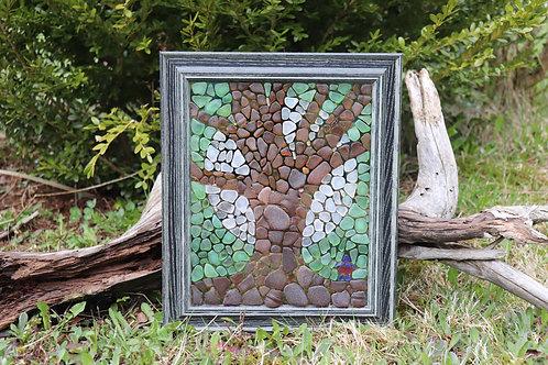 Super Moon and Tree Sea Glass Mosaic