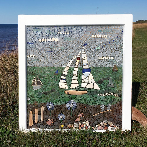 Sail Boat Regatta - Sea Glass Mosaic