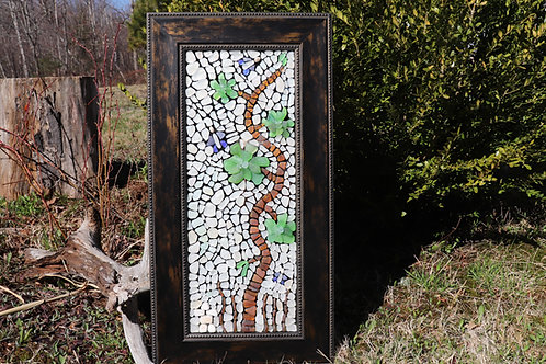 Mirrored Flowers Sea Glass Mosaic