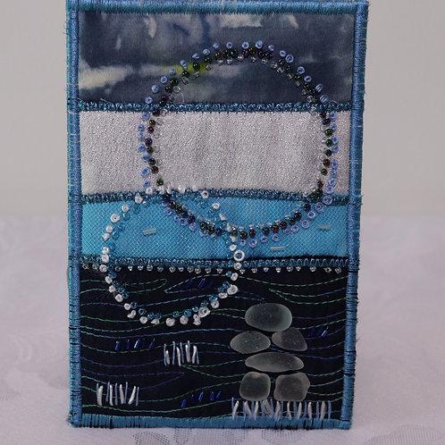 Quilted Moon Sea Glass Inukshuk Mini Art