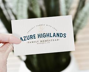 Azure Highlands - Business Card FRONT -
