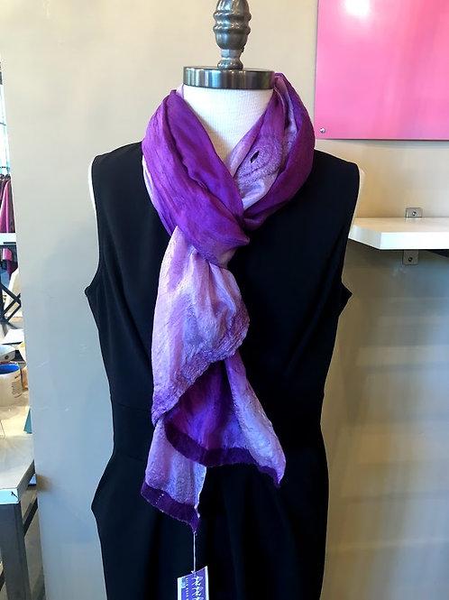 Silk Road Bazaar - Purple Felted Silk Scarf
