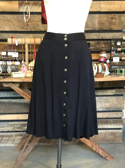 Field Day - The Bae Skirt in Black Challis With Pockets