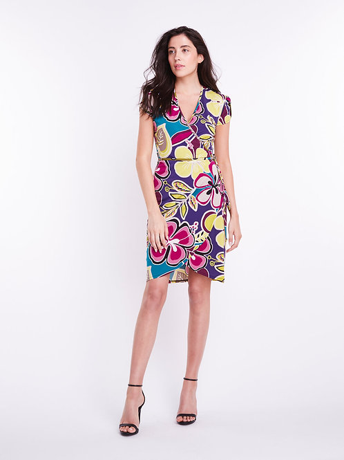 Misstery - Dundas Fitted Wrap Dress in Island Print