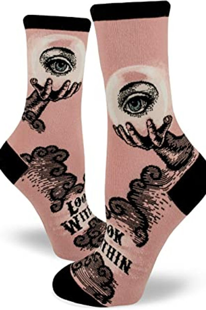 Mod Socks - Crystal Ball Wood Rose Women's Crew Socks