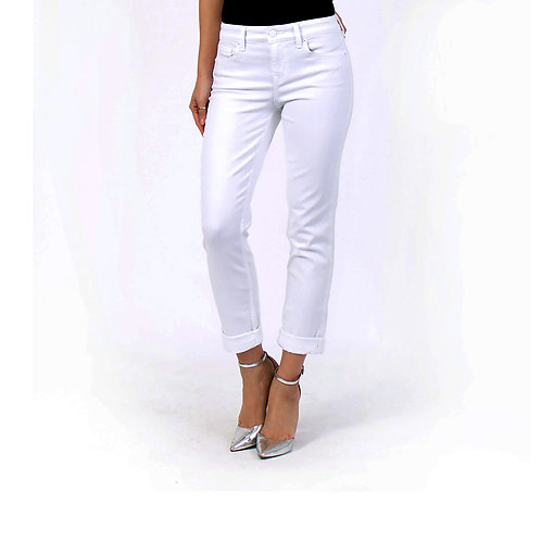 Level 99 - Lily Mid Rise Crop in Optic White