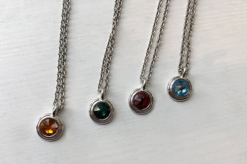 Rachel Eva - Silver Circle Crystal Necklace in Various Colors