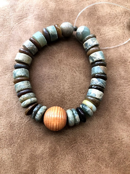 LSI - Green and Orange Stone Bead Bracelet with Sphere Center