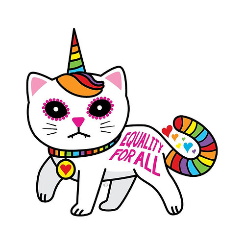 ReSISTA Kat - Equality for All Unicorn Kitty Die-Cut Sticker