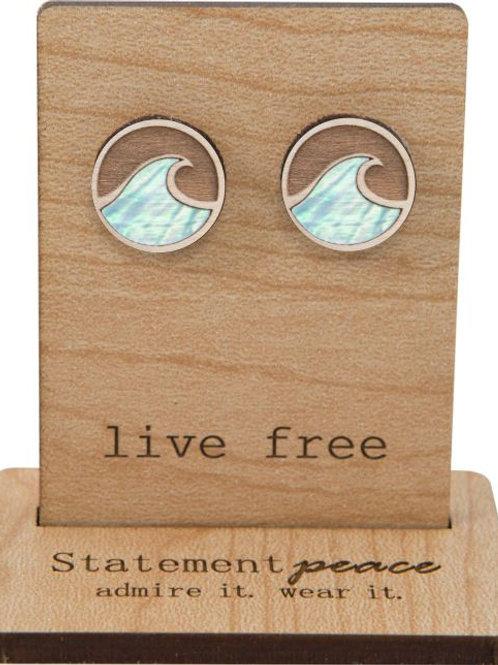 Statement Peace - Little Wave Abalone Studs