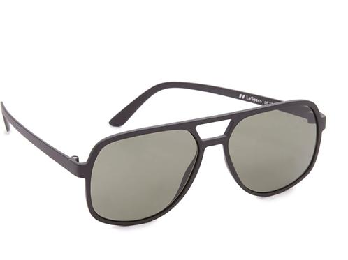 Le Specs -  Cousteau Matte Black Khaki Mono Sunglasses