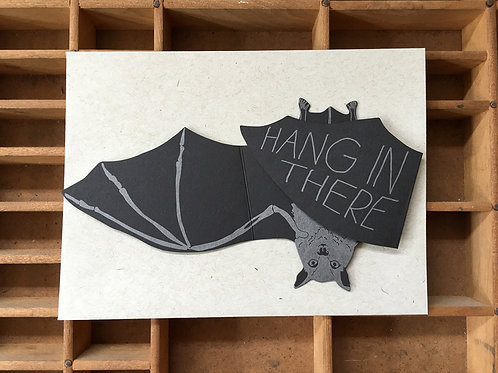Blackbird Letterpress - Hang In There Boo Bat Die Cut Gift Card