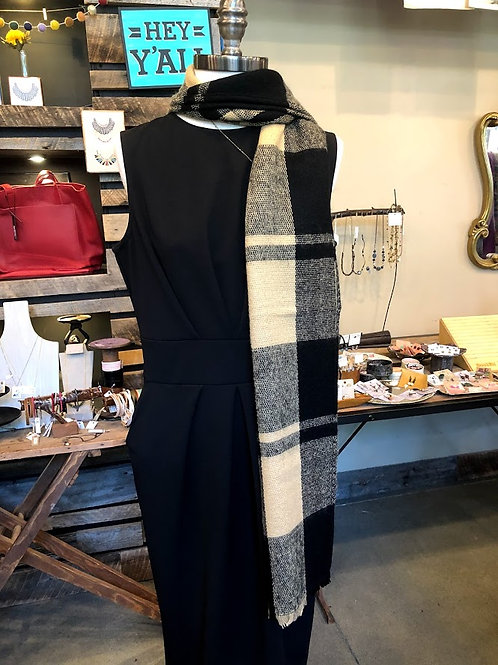 Top It Off - Beige and Black Plaid Scarf