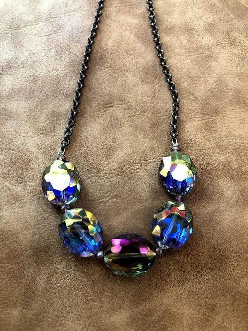 Rachel Eva -  Purple Rounded Crystal Beaded Chain Long Necklace