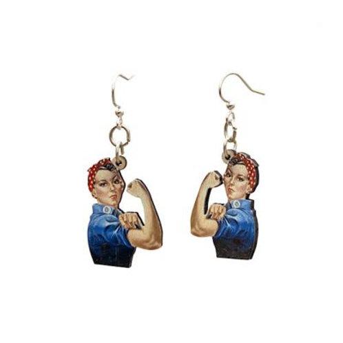 Green Tree - Rosie The Riveter Earrings