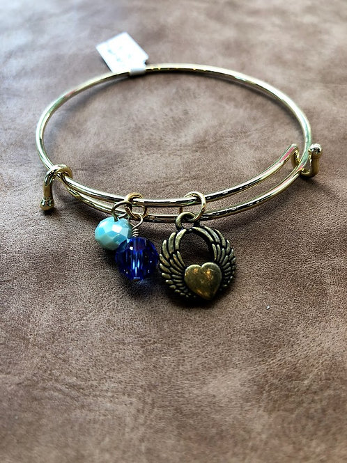 Rachel Eva - Heart Wings Blue Bead Golden Bangle Charm Bracelet