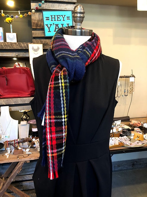 Top It Off - Multi Red Blue Plaid Scarf