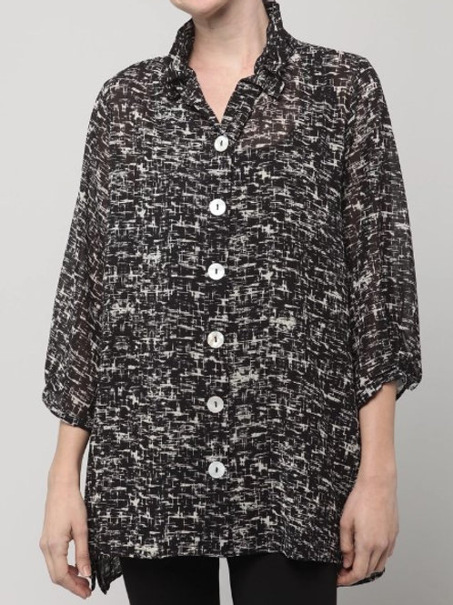 Inae Collection - Black/Beige Wire-Neck Blouse