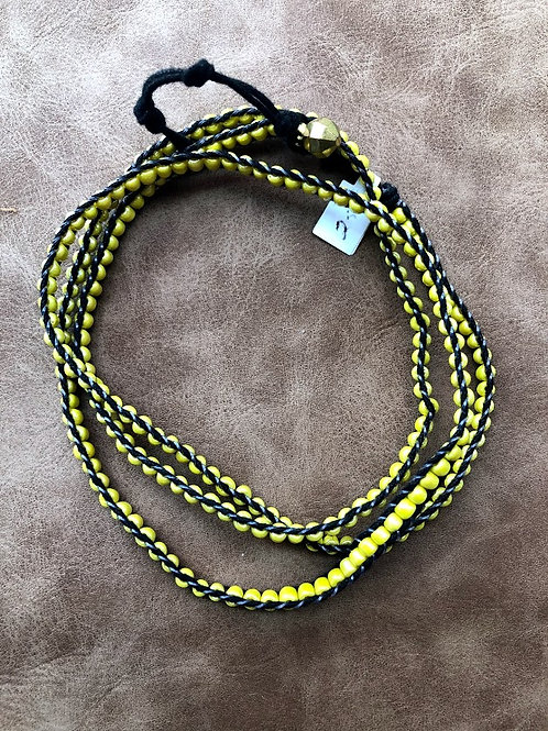 Smart Keti - Woven Yellow Bead Wrap Bracelet