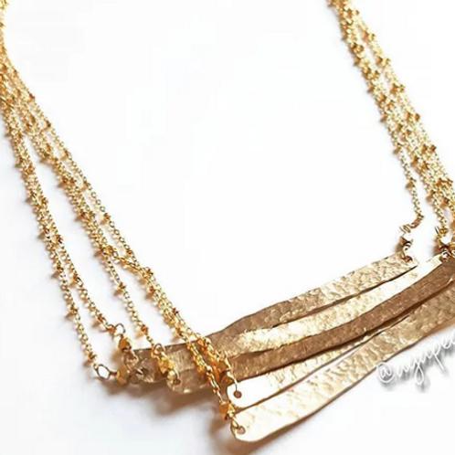 Agape Gems Hammered Gold Bar Necklace