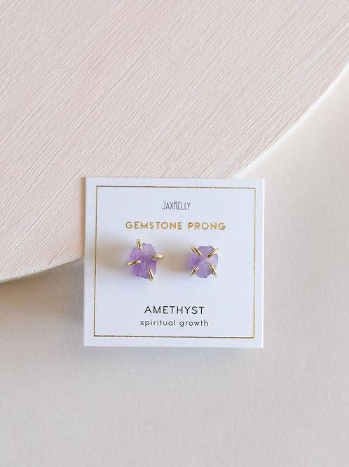 Jax Kelly - Amethyst Gemstone Prong Earrings