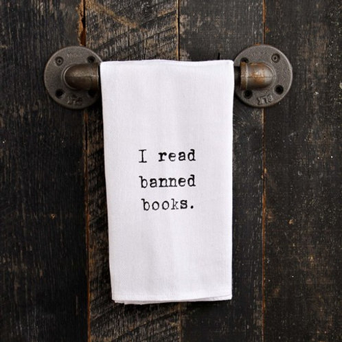 Second Nature By Hand - I Read Banned Books Tea Towel