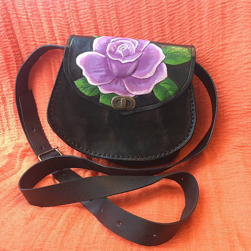 Purple Rose Leather Crossbody with Adjustable Strap