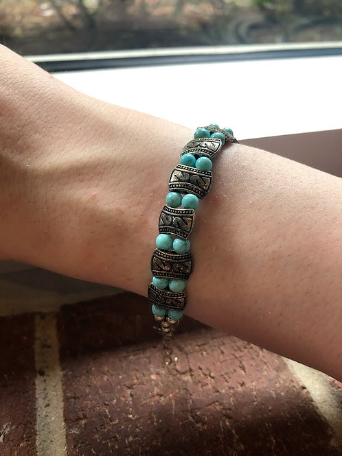 Cartagena - Turquoise And Silver Bead Bracelet