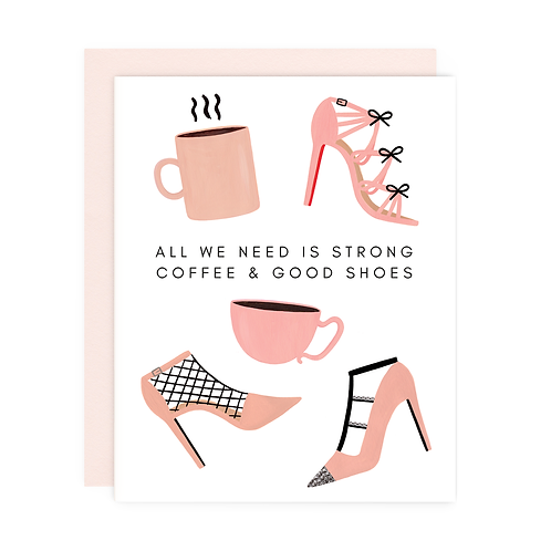 Girl With Knife - Strong Coffee Good Shoes Card