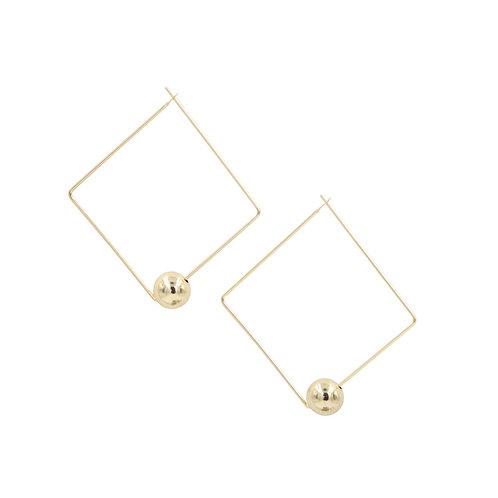 Sunday Girl Amy - Quadrato Gold Bead Square Hoops