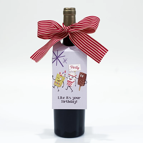 Mod Lounge Paper - Birthday Wine Gift Tag Green