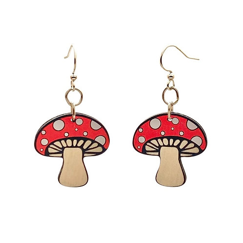 Green Tree - Mushroom Earrings